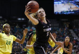 Stanford's Alanna Smith (11) grabs a rebound against Oregon during the first half of an NCAA college