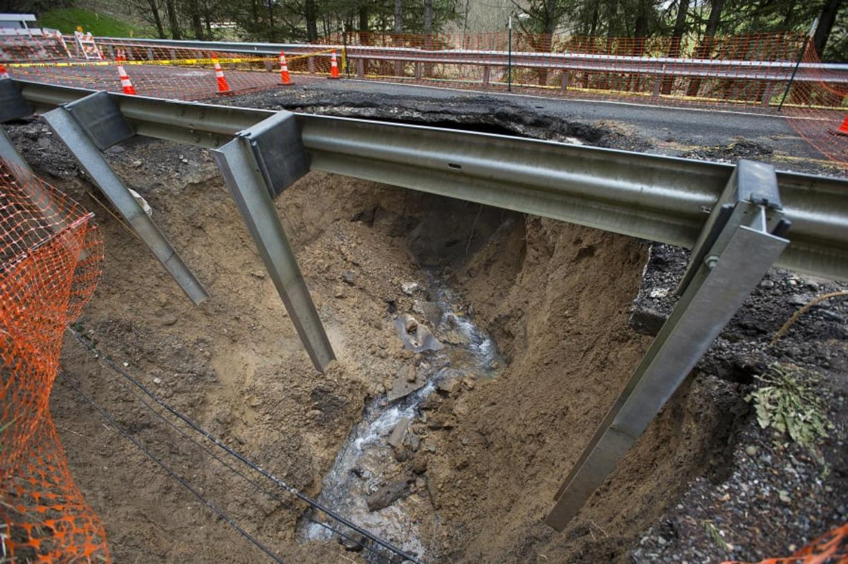 Winter storms washed out this section of Northwest Pacific Highway near La Center, as seen Feb. 25. Crews have since rebuilt and reopened the road.