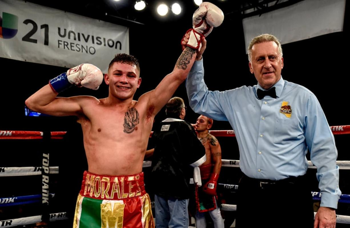 Victor Morales Jr., pictured here after a technical knockout over Edgar Cantu on Jan. 11, 2018, is scheduled for an eight-round bout against Marcello Gallardo on Saturday in Clackamas, Ore.