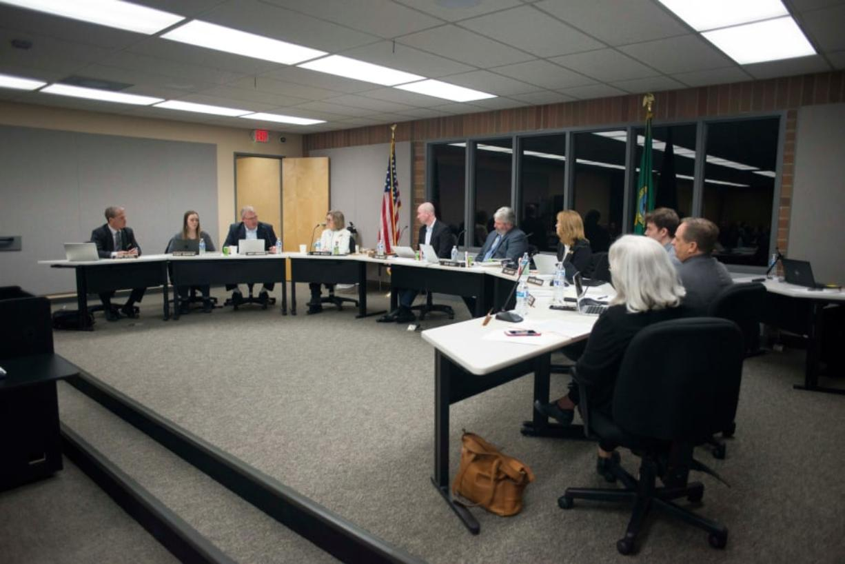 The Battle Ground Public School board meets during a district meeting on Jan. 14. (The Columbian files)