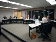 The Battle Ground Public School board meets during a district meeting on Jan. 14.