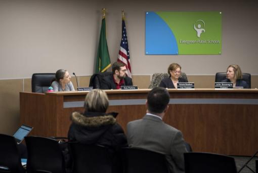 Members of the Evergreen School District Board of Directors Ginny Gronwoldt, from left, Rob Perkins, Victoria Bradford, and Julie Bocanegra meet for an emergency meeting at the Evergreen School District offices in Vancouver on Feb. 25, 2019.