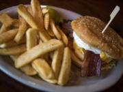The rawhide burger with steak fries.