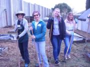 Hazel Dell: Washington State University Master Gardeners Barbara Nordstrom, from left, and Bobbi Bellomy with Clark College students Samantha King and Breanna Richardson at a work party to get the Hazel Dell School and Community Garden ready for spring.