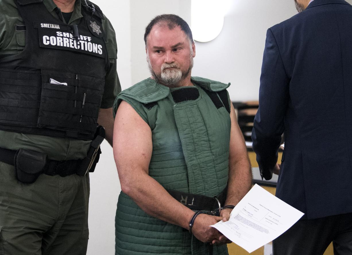 Randy John Schmidt, 47, appears Wednesday, April 10, 2019, in Clark County Superior Court to face an allegation of second-degree murder in the death of 52-year-old Michael Chad Holmes of Camas. Schmidt asked the judge to appoint him a defense attorney because his family has abandoned him, he said.