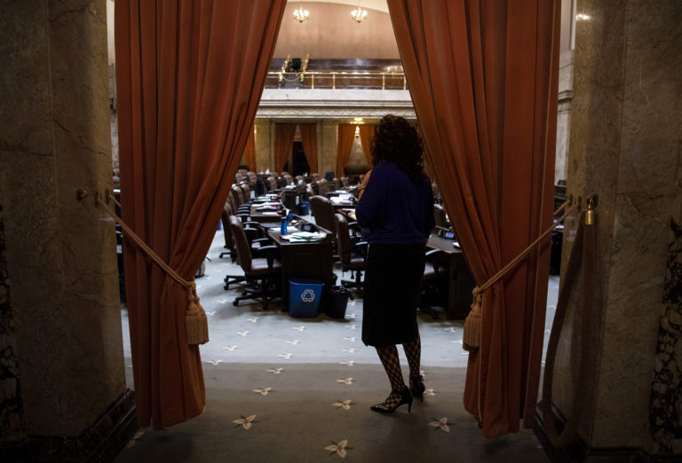 Rep. Monica Stonier, D-Vancouver, pauses for a moment to check who is still on the floor before going into caucus during in Olympia, Wash., on Tuesday, April 9, 2019.