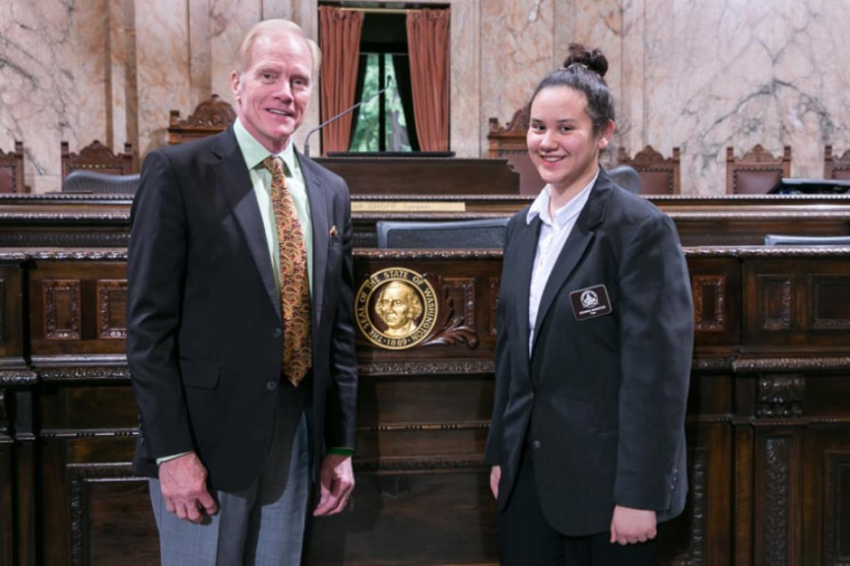 East Vancouver: Wy'east Middle School student Joanna Maratos served as a page in the state House of Representatives for 17th District Rep. Paul Harris, R-Vancouver.