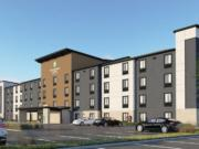 A Woodspring Suites hotel has been proposed for east Vancouver. The proposed extended-stay hotel is under development and may be similar to the prototype design in this rendering.