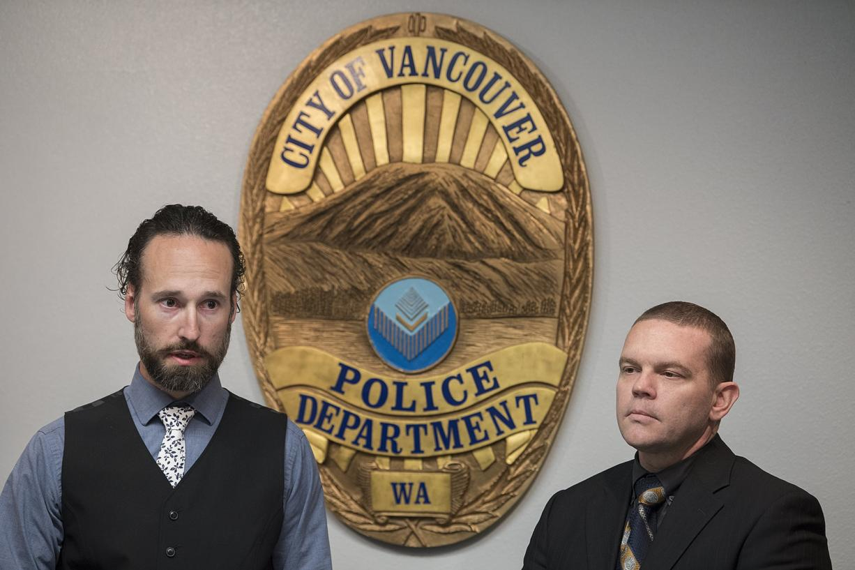 Det. Dustin Goudschaal, left, and Det. Cpl. Neil Martin speak to the media at Vancouver Police Department headquarters after making an arrest in the murder of Audrey Hoellein on Tuesday afternoon, April 30, 2019.