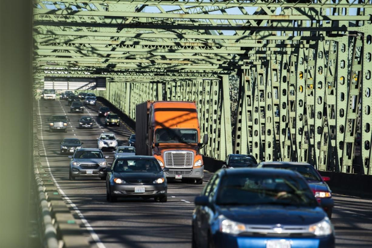 Southbound traffic crosses the Interstate 5 Bridge. (Nathan Howard/The Columbian)