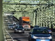Southbound traffic crosses the Interstate 5 Bridge.