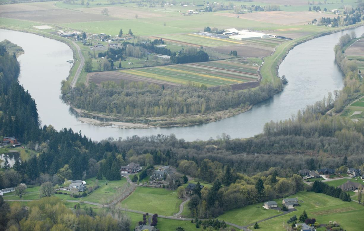 Aerial view of the Lewis River near La Center.