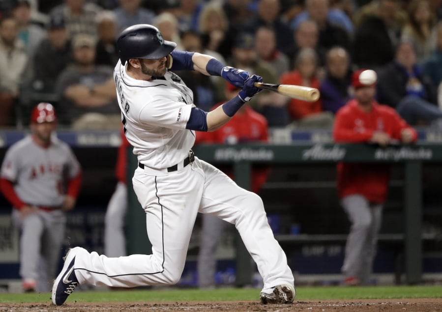 f4e336ba088 Seattle Mariners' Mitch Haniger doubles in a run against the Los Angeles  Angels in the