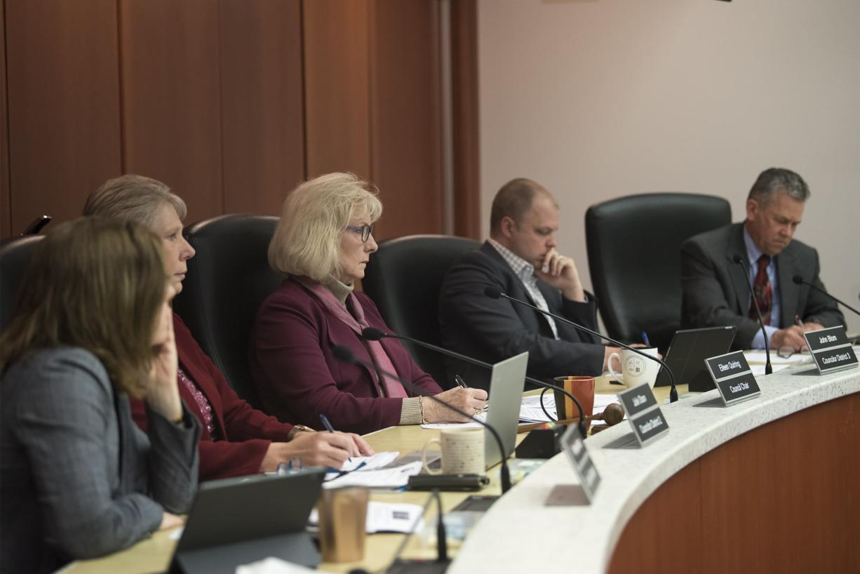 The County Council meets at the Clark County Public Service Center on Wednesday, April 3, 2019.  (Nathan Howard/The Columbian)