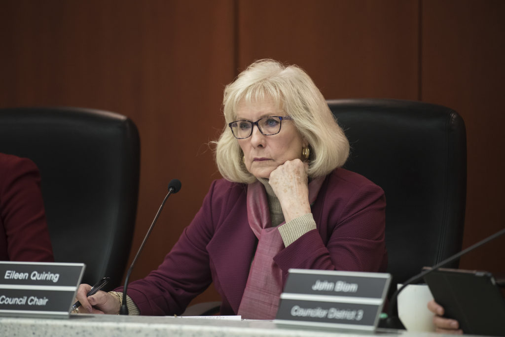 County Council Chair Eileen Quiring listens during a County Council meeting in April 2019.