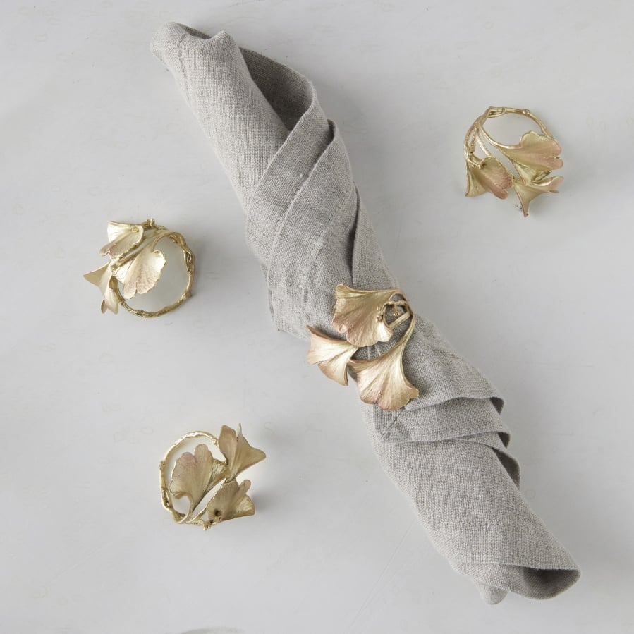3113302444597a Michael Michaud's delicately crafted metal napkin rings made using molds  and natural botanical mater