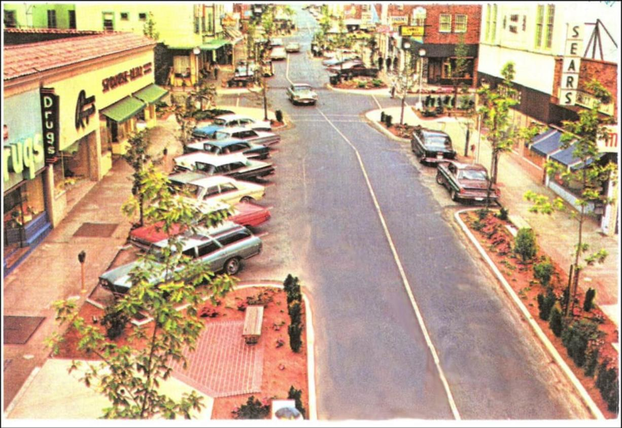 "Contributed photo This photo of Northeast Fourth Avenue in downtown Camas was taken in 1967. ""Spring Into History"" is the next First Friday event in downtown Camas, when families can celebrate the arrival of spring with history-themed games."