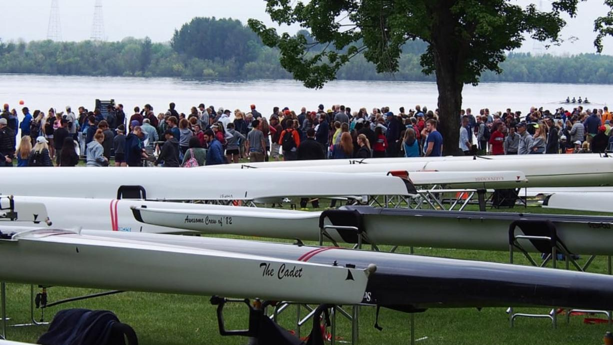 Spectators line the shore at Vancouver Lake during the 2018 USRowing Northwest Youth Championships. This year's event opens on Friday and continues through Sunday.