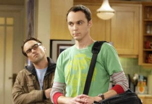 "Johnny Galecki, left, and Jim Parsons, who plays Sheldon Cooper, on an episode of ""The Big Bang Theo"