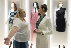 "Rebel Wilson, left, and Anne Hathaway in ""The Hustle."" MGM Studios"