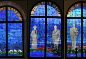 Don Young Glass Studio designed, created and, in 2013, began to install 60 stained-glass windows in