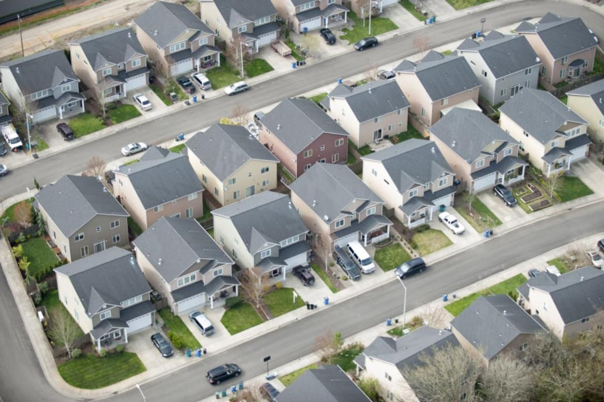 Aerial view of housing in Vancouver. (The Columbian files)