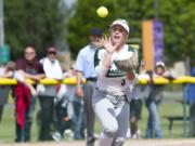 Woodland's Kelly Sweyer catches the ball for the first out of the 7th inning during the 2A softball state championship game against W.F. West on Saturday, May 25, 2019 at Carlon Park in Selah, Wash.