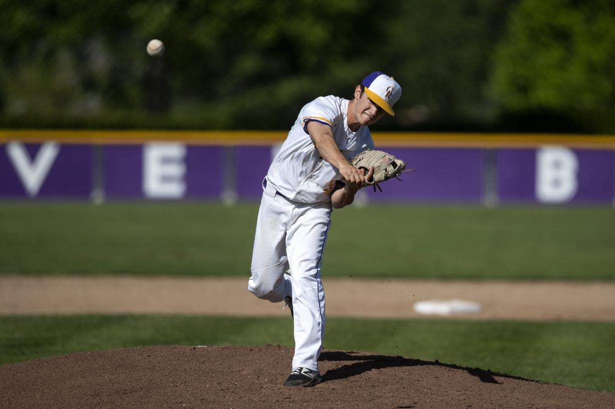 Columbia River's Nick Alder (5) pitches during the game against Centralia in the first round of the 2A district baseball tournament at Columbia River High School in Vancouver on Tuesday May 7, 2019.