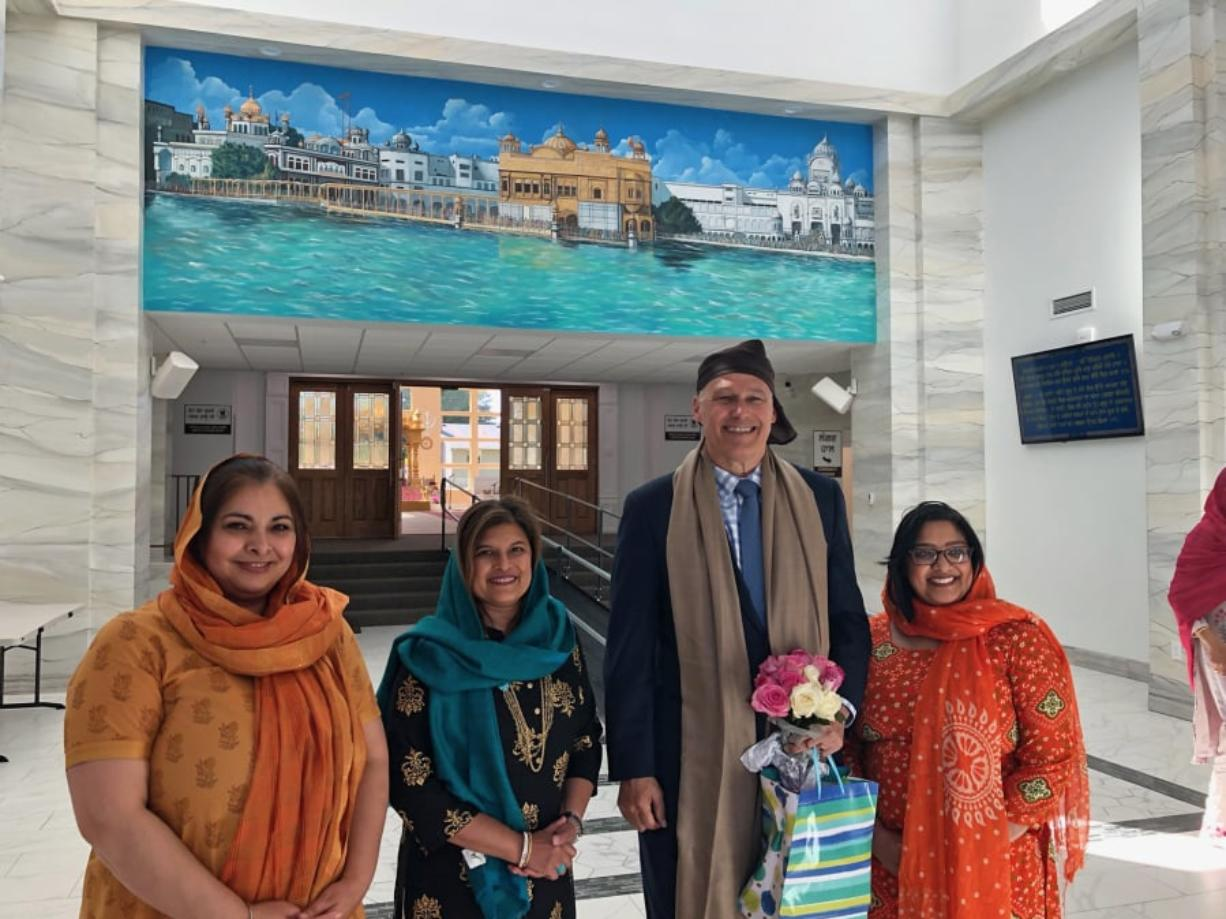 Sen. Manka Dhingra, D-Redmond, left, Rep. Vandana Slatter, D-Bellevue, Gov. Jay Inslee and Sen. Mona Das, D-Kent, visited the Guru Ramdass Gurdwara Sahib Sikh temple in Vancouver on Friday.