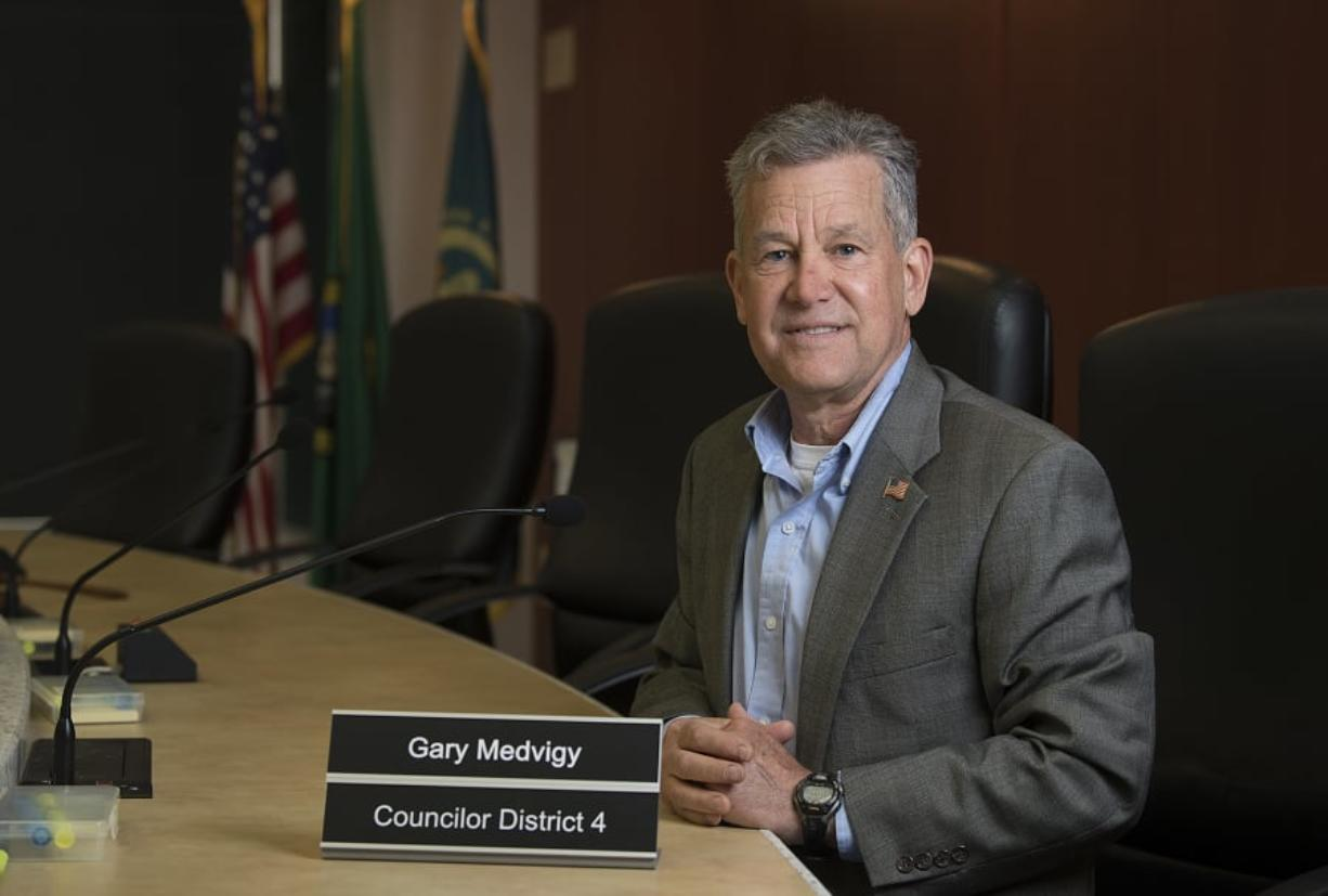 Clark County Councilor Gary Medvigy is pictured Tuesday in his District 4 council seat. This fall, voters will decide whether he keeps it.