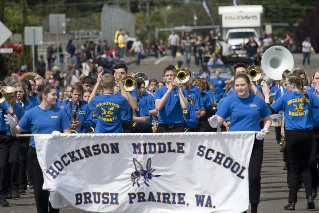 60cf8ad1 The Hockinson Middle School Marching Band participated in the Hazel Dell  Parade of Bands on Saturday