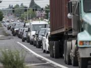 Traffic stacks up north of the state Highway 500 -Northeast Fourth Plain Boulevard intersection during morning rush hour on Thursday.