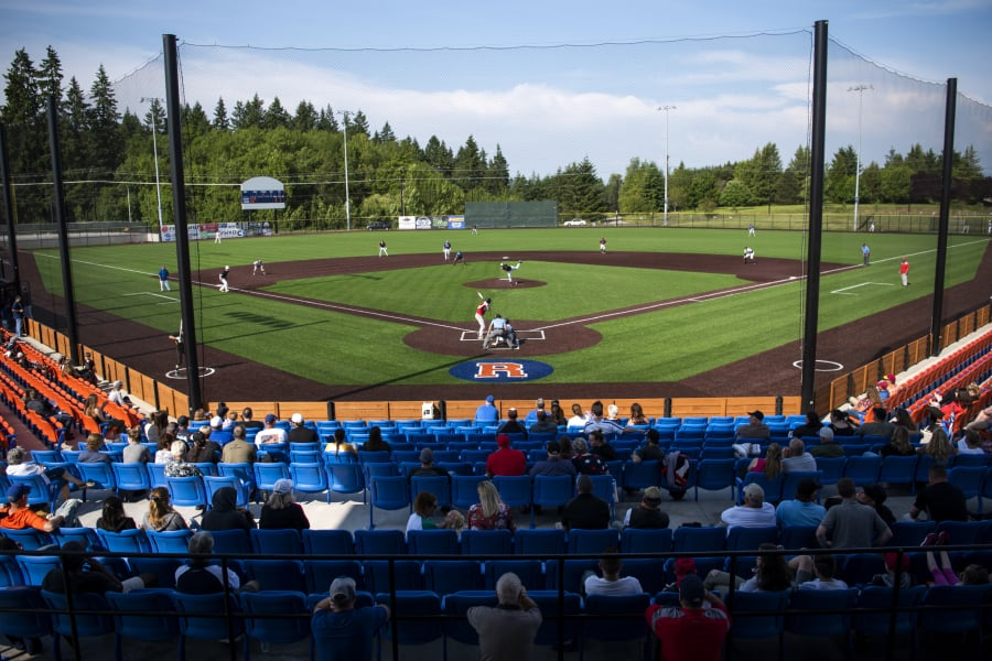 Fans watch the first Southwest Washington Senior All-Star baseball game of the evening at the Ridgefield Outdoor Recreation Complex.