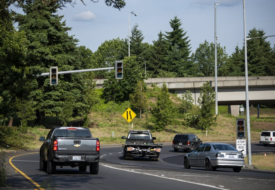Traffic merges onto I-5 just before the Interstate 5 Bridge in Vancouver on Thursday, May 30, 2019.