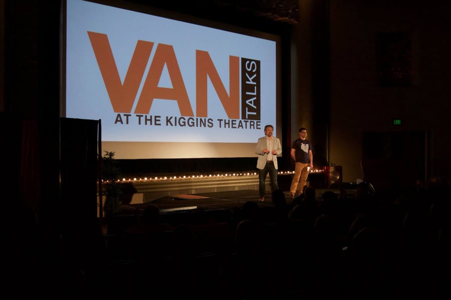 Organizers Kevin Hiebert, left, and Steve Valenta at 2016's inaugural VANtalks event.