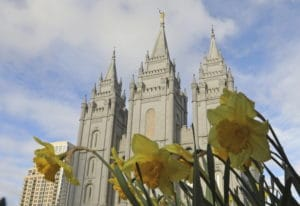 The Salt Lake City temple is shown April 6 during The Church of Jesus Christ of Latter-day Saints' t