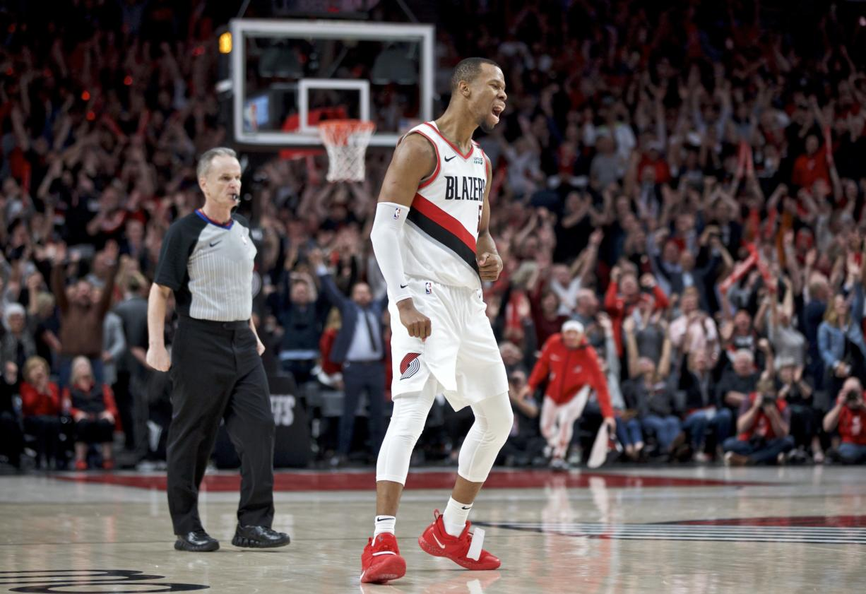 Portland Trail Blazers guard Rodney Hood reacts after making a three point basket against the Denver Nuggets during the fourth overtime of Game 3 of an NBA basketball second-round playoff series Friday, May 3, 2019, in Portland, Ore.