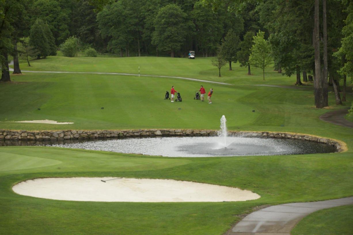 The 18th hole at Camas Meadows golf course.