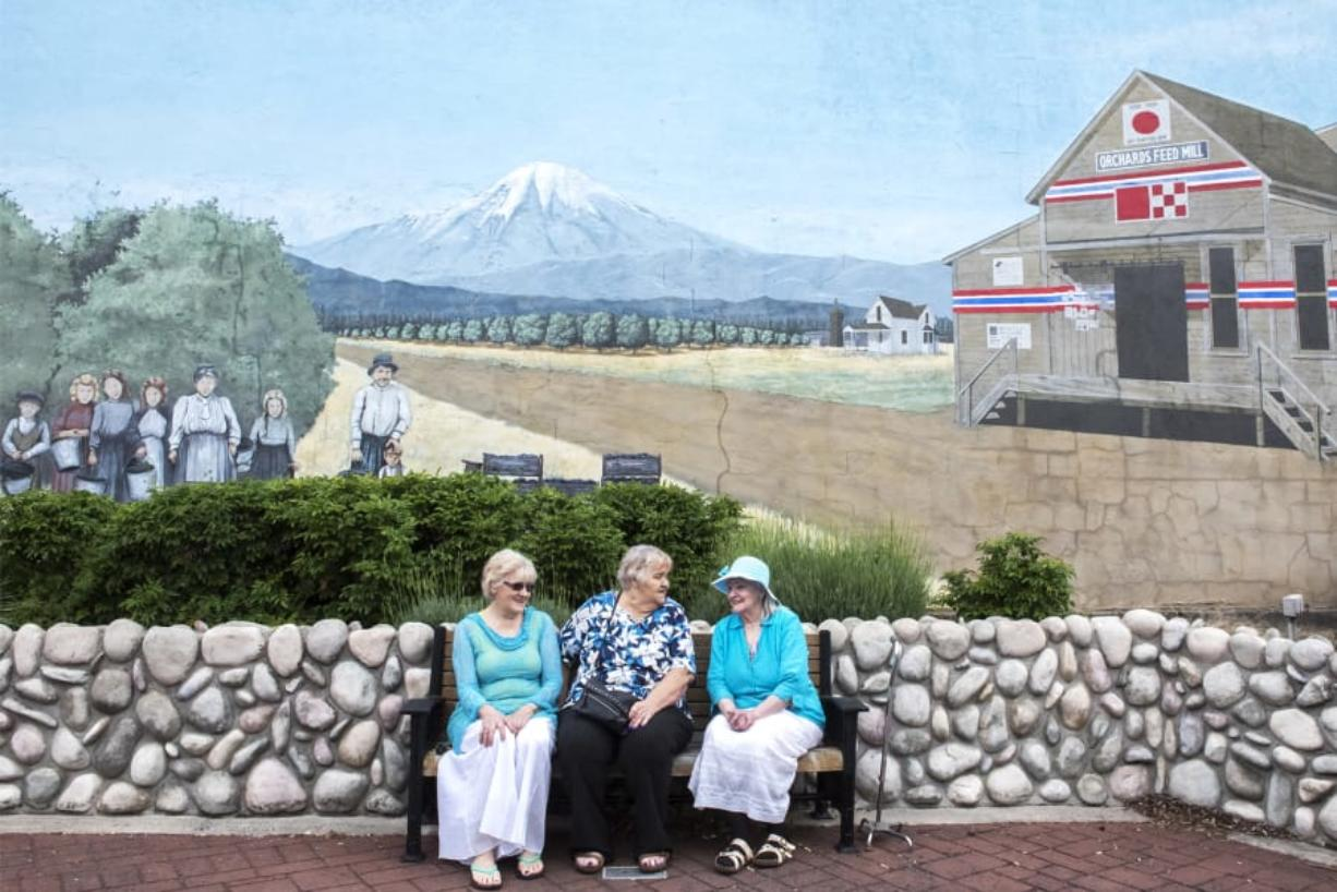 Sharon York, from left, Dianne Underwood and Patricia Buzzini talk while sitting in front of a mural featuring their family at Orchards Plaza.