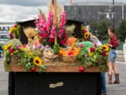 Battle Ground's Rose Float mini-float won best mini-float at the 2019 Spirit Mountain Casino Grand Floral Parade in Portland on Saturday.