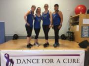 Northeast Hazel Dell: Dance instructors, from left, Sherrie Robertson, Cindy Morical, Penny Ford and Synndrah Spillers at Robertson's eighth annual Dance for a Cure fundraiser, which raised $6,500 for the American Cancer Society Relay for Life. The event has raised nearly $30,000 in its eight years.