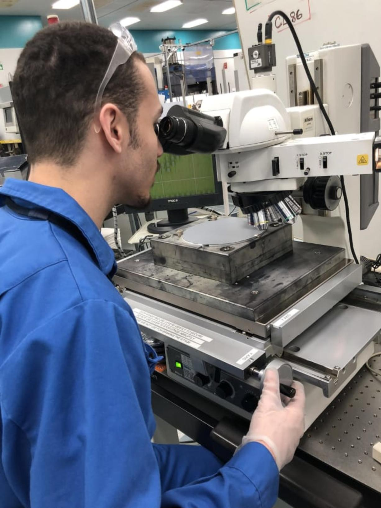 Devon Laverne, a 2018 graduate from Mountain View High School in Evergreen District, works in the laser mark department at SEH America in Vancouver. Laverne is attending mechatronics classes at Clark College while participating in the Career Launch program at SEH.