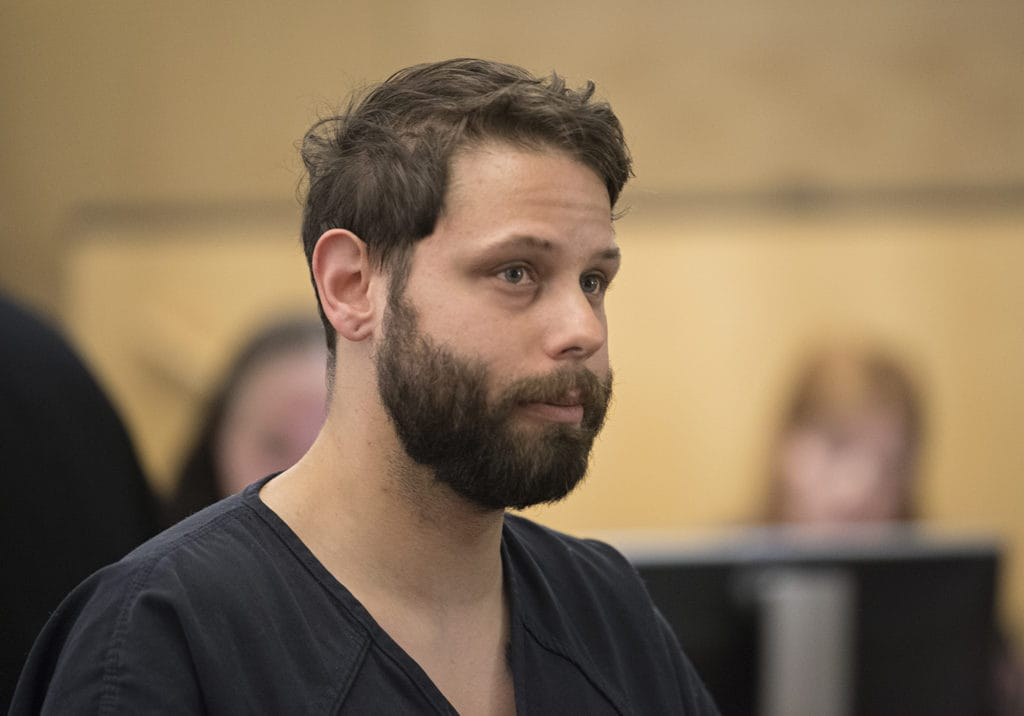 Zackary Abel makes a first appearance on suspicion of voyeurism in Clark County Superior Court on June 9, 2019. Abel, a Crunch Fitness employee, is accused of recording a gym member with his cellphone as she tanned in the nude.