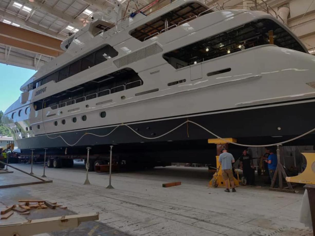 One of the two final yachts at Christensen Shipyards in Vancouver is prepped for its move to a nearby marina launch ramp this week.