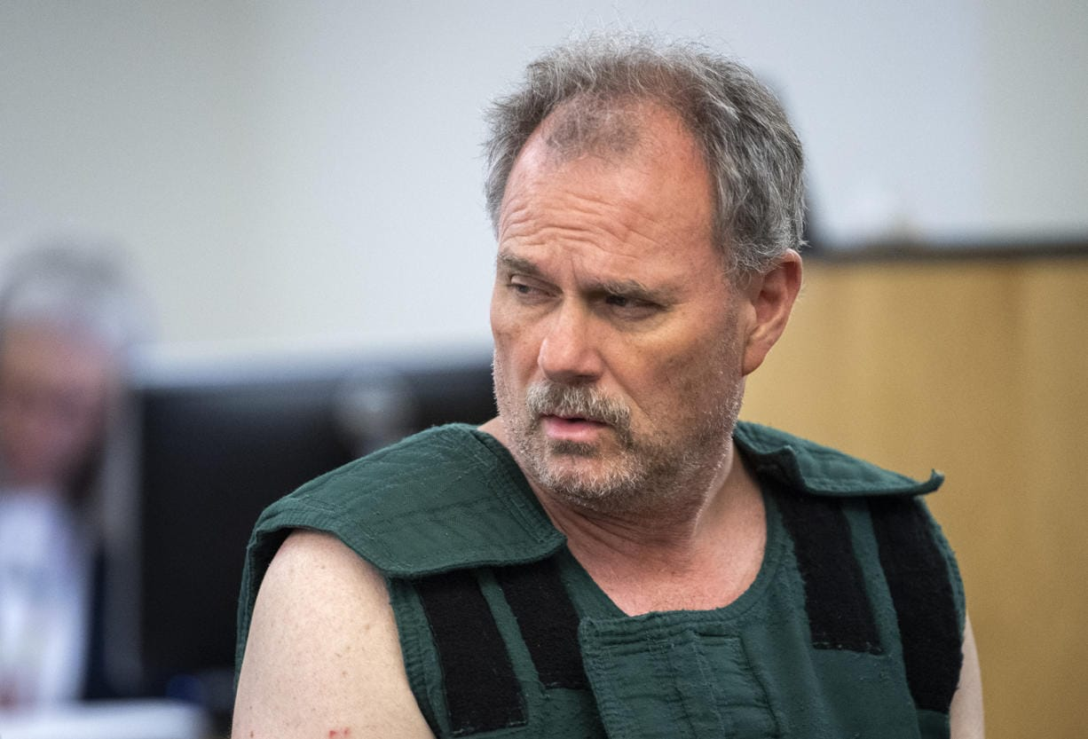 Robert W. Burdick, 56, appears in Clark County Superior Court, facing an allegation of first-degree murder on Wednesday, June 19, 2019. Burdick called 911 at 2:05 a.m. Tuesday from an apartment complex in the 600 block of West Lookout Ridge Drive. He said he was armed with butcher knives and was holding his wife hostage in their home, according to a Washougal Police Department news release. Linda Burdick 49, died later at PeaceHealth Southwest Medical Center in Vancouver after undergoing emergency surgery for multiple stab wounds to the upper body.