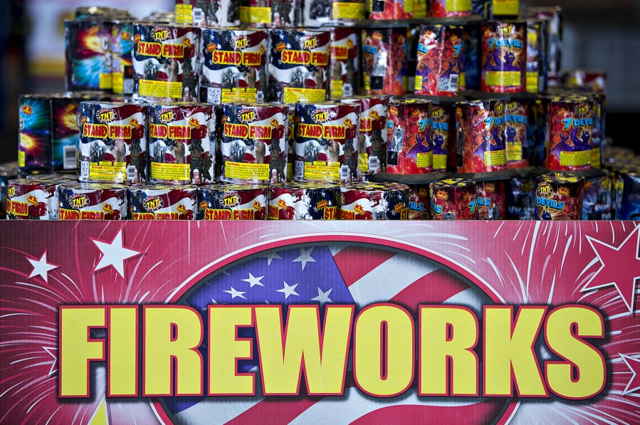 A display of fireworks waits for customers at TNT Fireworks Warehouse in Salmon Creek.