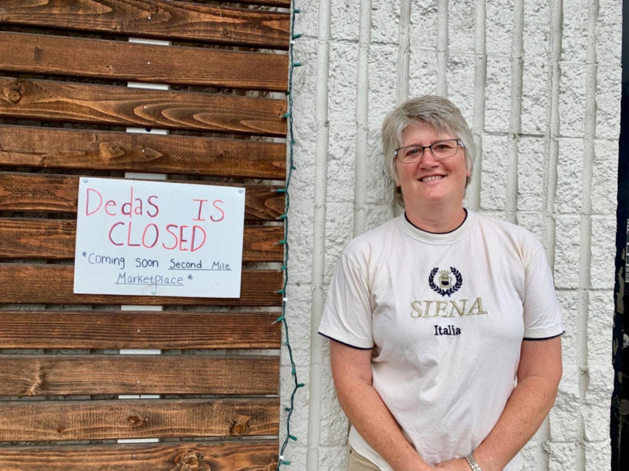 Holly Hansen in front of Second Mile Marketplace, a new commercial kitchen/food hub venture.