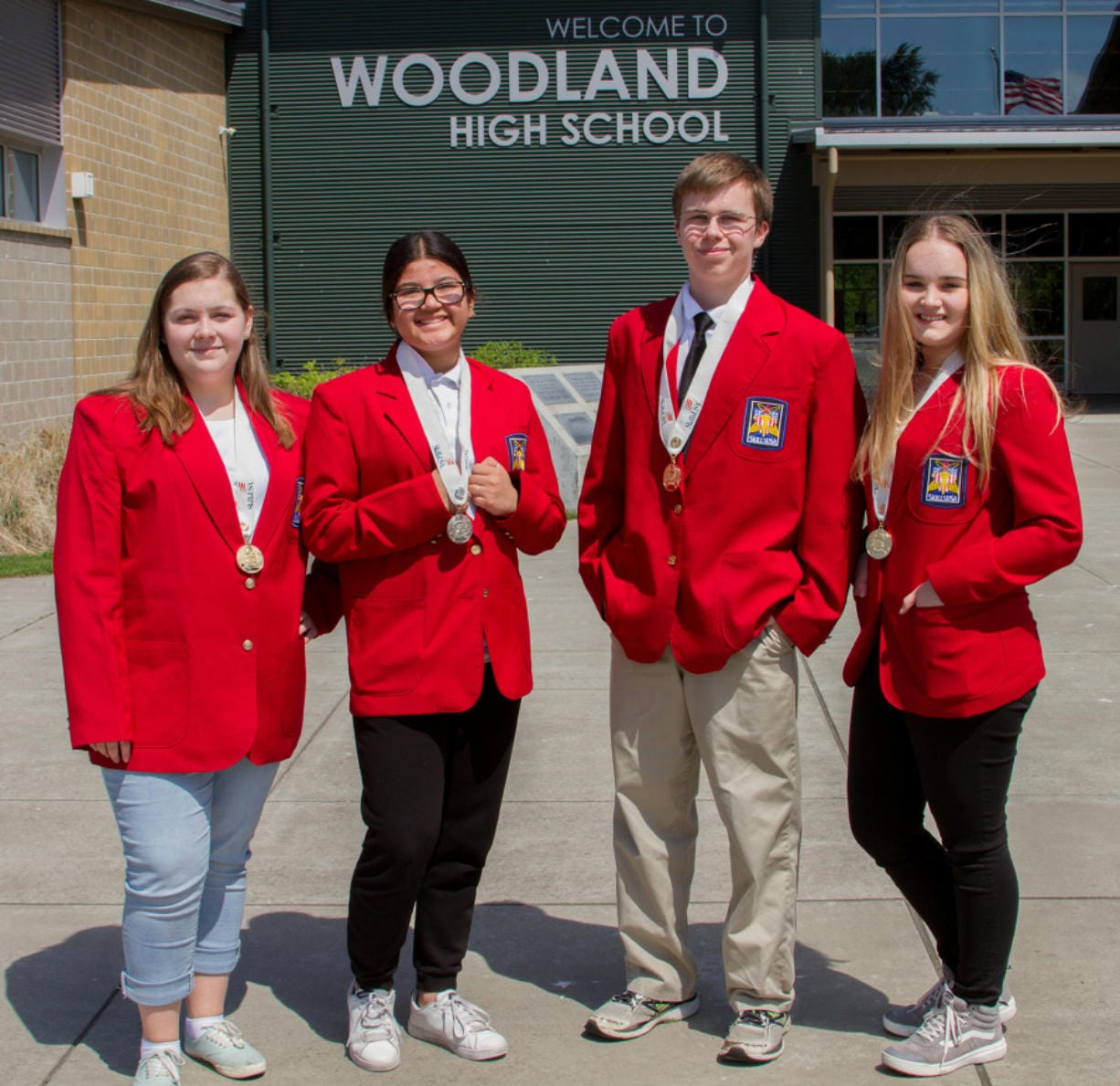 Woodland: Woodland High School SkillsUSA medal winners, from left, Katelyn Paulson, Camila Avelar, Caleb Mouat and Brooke Schimmel.