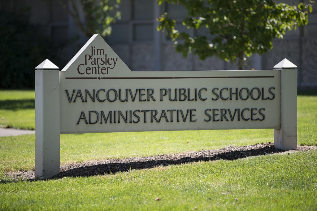 A sign for Vancouver Public Schools Administrative Services outside VPS offices.