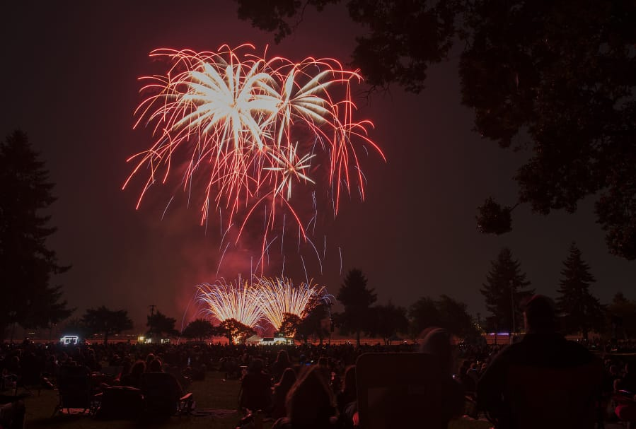 Fireworks light the night sky to the delight of the crowd Thursday evening during Fourth of July festivities at Fort Vancouver National Historic Site in 2019.